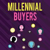 Conceptual hand writing showing Millennial Buyers. Business photo text Type of consumers that are interested in trending. Conceptual hand writing showing stock illustration