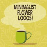 Conceptual hand writing showing Minimalist Flower Logos. Business photo showcasing use minimalism in logo design to make brand royalty free illustration
