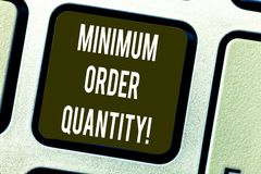 Conceptual hand writing showing Minimum Order Quantity. Business photo text lowest quantity of a product a supplier can. Sell Keyboard key Intention to create stock illustration