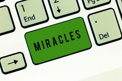 Conceptual hand writing showing Miracles. Business photo showcasing extraordinary and welcome event that not explicable stock photo