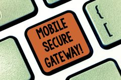 Conceptual hand writing showing Mobile Secure Gateway. Business photo showcasing Securing devices from phishing or