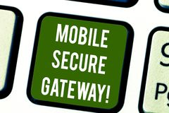 Conceptual hand writing showing Mobile Secure Gateway. Business photo text Securing devices from phishing or malicious