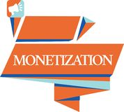 Conceptual hand writing showing Monetization. Business photo showcasing Process of converting establishing something into legal. Tender royalty free illustration