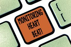 Conceptual hand writing showing Monitoring Heart Beat. Business photo showcasing Measure or record the heart rate in. Real time Keyboard key Intention to create royalty free stock photography