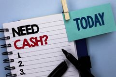 Conceptual hand writing showing Need Cash Question. Business photo text Wealth Question Needy Currency Money Advice Conceptual wri. Tten Notebook Book plain Royalty Free Stock Photos