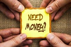 Conceptual hand writing showing Need Money Question. Business photo showcasing Economic Finance Crisis, Cash Loan Needed written o. Conceptual hand writing Stock Image