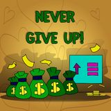 Conceptual hand writing showing Never Give Up. Business photo text Keep trying until you succeed follow your dreams. Goals vector illustration