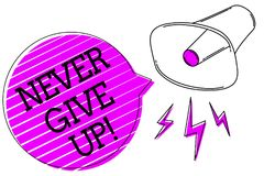 Conceptual hand writing showing Never Give Up. Business photo text Keep trying until you succeed follow your dreams goals Megaphon. E purple speech bubble stock illustration