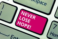 Conceptual hand writing showing Never Lose Hope. Business photo text Be positive optimistic have motivation to keep royalty free stock images