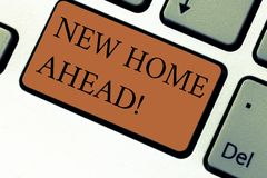 Conceptual hand writing showing New Home Ahead. Business photo text Buying an own house apartment Real estate business. Relocation Keyboard key Intention to royalty free stock photography