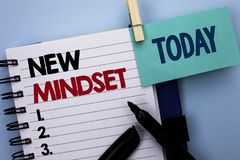Conceptual hand writing showing New Mindset. Business photo text Attitude Latest Concept Vision Behaviour Plan Thinking written on. Conceptual hand writing Royalty Free Stock Image
