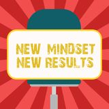 Conceptual hand writing showing New Mindset New Results. Business photo showcasing Open to Opportunities No Limits Think. Bigger Blank Rectangular Shape Sticker vector illustration