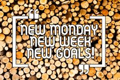 Conceptual hand writing showing New Monday New Week New Goals. Business photo showcasing next week resolutions To do list Goals stock photos