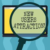 Conceptual hand writing showing New Users Attraction. Business photo showcasing Something that makes showing want for a particular. Thing Magnifying Glass stock illustration