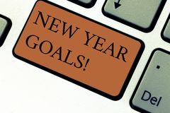 Conceptual hand writing showing New Year Goals. Business photo text Resolutions for 365 days coming soon Motivation to. Change Keyboard key Intention to create royalty free stock images