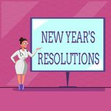 Conceptual hand writing showing New Year s is Resolutions. Business photo text Wishlist List of things to accomplish or. Improve royalty free illustration