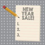 Conceptual hand writing showing New Year Sale. Business photo showcasing Final holiday season discounts price reductions. Offers royalty free illustration
