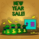 Conceptual hand writing showing New Year Sale. Business photo text Final holiday season discounts price reductions. Offers vector illustration