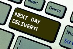Conceptual hand writing showing Next Day Delivery. Business photo showcasing service allows you have goods delivered day stock images