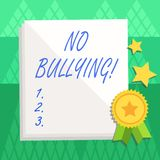 Conceptual hand writing showing No Bullying. Business photo text stop aggressive behavior among children power imbalance. Conceptual hand writing showing No vector illustration