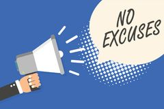 Conceptual hand writing showing No Excuses. Business photo text telling someone not to tell reasons for certain problem Man holdin vector illustration