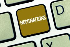 Conceptual hand writing showing Nominations. Business photo showcasing Suggestions of someone or something for a job. Position or prize royalty free stock image