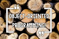 Conceptual hand writing showing Object Oriented Programming. Business photo text Language model objects rather than. Actions Wooden background vintage wood wild royalty free stock photos