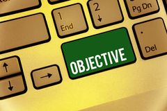 Conceptual hand writing showing Objective. Business photo text Goal planned to be achieved Desired target Company mission Keyboard. Type message idea office stock photo