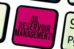 Conceptual hand writing showing Oil Reservoir Management. Business photo showcasing analysisaging the recovery of natural gas from. Rock Keyboard key Intention royalty free stock photography
