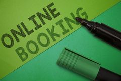 Conceptual hand writing showing Online Booking. Business photo showcasing Reservation through internet Hotel accommodation Plane t. Icket stock photography