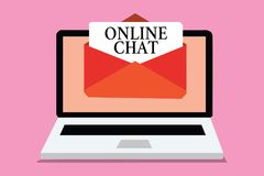 Conceptual hand writing showing Online Chat. Business photo showcasing talking with friend or someone through internet and PC phon. E Computer receiving email vector illustration