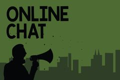 Conceptual hand writing showing Online Chat. Business photo showcasing talking with friend or someone through internet and PC phon. E Man holding megaphone royalty free illustration