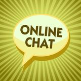 Conceptual hand writing showing Online Chat. Business photo showcasing talking with friend or someone through internet and PC phon. E Yellow speech bubble royalty free illustration