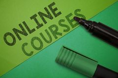 Conceptual hand writing showing Online Courses. Business photo showcasing Revolutionizing formal education Learning through intern. Et royalty free stock photography