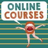 Conceptual hand writing showing Online Courses. Business photo showcasing Revolutionizing formal education Learning through intern. Et Royalty Free Illustration