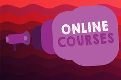Conceptual hand writing showing Online Courses. Business photo showcasing Revolutionizing formal education Learning through intern. Et Stock Illustration