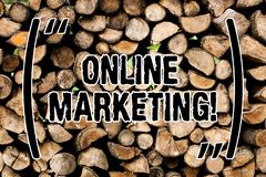 Conceptual hand writing showing Online Marketing. Business photo text leveraging web based channels spread about. Conceptual hand writing showing Online royalty free stock images