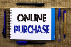 Conceptual hand writing showing Online Purchase. Business photo text Buy things on the net Go shopping without leaving home writte. N Notebook Book the jute Stock Image