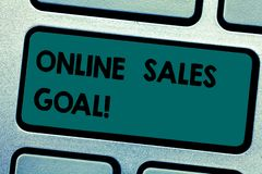 Conceptual hand writing showing Online Sales Goal. Business photo showcasing working backward from your company annual. Revenue target Keyboard key Intention to stock photography