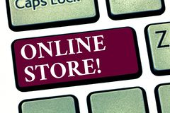Conceptual hand writing showing Online Store. Business photo showcasing Internet related business Website where you can buy in the. Net Keyboard key Intention stock image