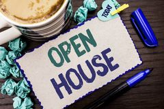 Conceptual hand writing showing Open House. Business photo showcasing Home Property Residential Interior Exterior Building Apartme. Nt written Cardboard Piece royalty free stock image