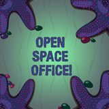 Conceptual hand writing showing Open Space Office. Business photo text minimizes use of small enclosed rooms as private. Offices Starfish on Four Corners with stock illustration