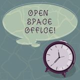 Conceptual hand writing showing Open Space Office. Business photo text minimizes use of small enclosed rooms as private. Offices Color Thought Speech Bubble vector illustration