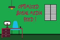 Conceptual hand writing showing Optimized Social Media Feed. Business photo text Search engine optimization digital feeds. Minimalist Interior Computer and stock photography