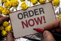 Conceptual hand writing showing Order Now. Business photo showcasing Buy Purchase Order Deal Sale Promotion Shop Product Register. Written by Man Holding Marker Royalty Free Stock Images
