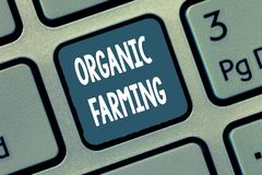 Conceptual hand writing showing Organic Farming. Business photo showcasing an integrated farming system that strives for sustainab stock image