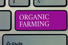 Conceptual hand writing showing Organic Farming. Business photo text an integrated farming system that strives for sustainability.  royalty free stock photography