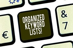 Conceptual hand writing showing Organized Keyword Lists. Business photo showcasing Taking list of keywords and place. Them in groups Keyboard key Intention to royalty free stock photography