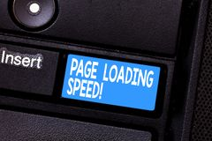 Conceptual hand writing showing Page Loading Speed. Business photo showcasing time it takes to download and display royalty free stock photos
