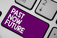 Conceptual hand writing showing Past Now Future. Business photo showcasing Last time Present Following actions Destiny Memories Ke. Yboard purple key computer stock photo